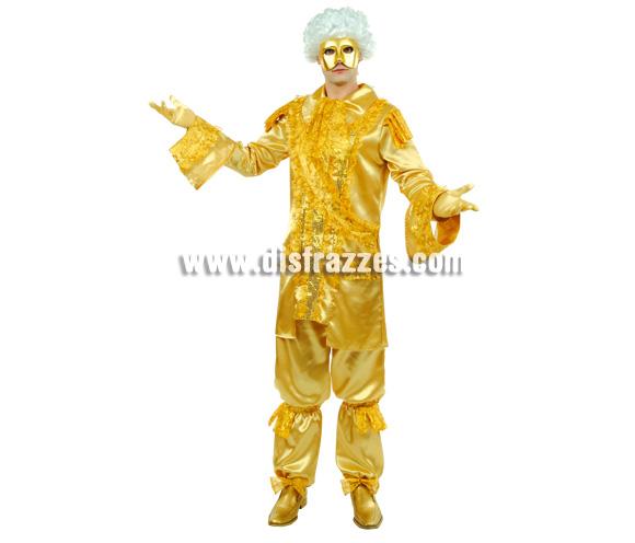 Disfraz de Duque Dorado para hombre. Talla 54. Incluye pantalón, chaqueta y máscara. Disfraz Veneciano de Época.