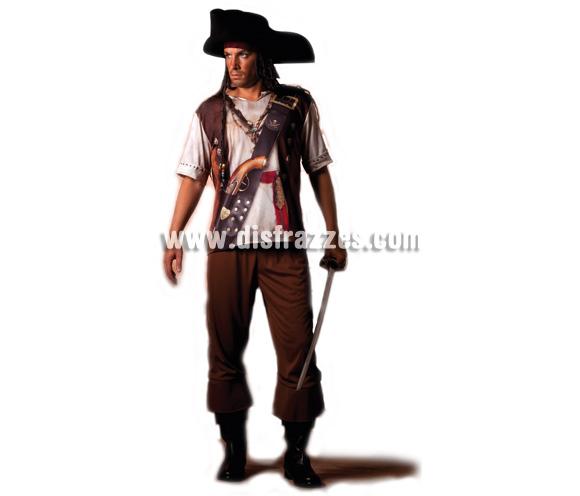 Disfraz de Pirata para hombre línea Ilusión. Talla única. Incluye pantalón y camisa. Fíjate en la camisa, está impresa ¡qué original!