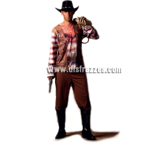 Disfraz de Cowboy línea Ilusión para hombre. Talla única. Incluye pantalón y camisa. Fíjate en la camisa, está impresa ¡qué original!