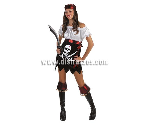 Disfraz de Pirata Sexy Glam para mujer. Talla 38. Incluye vestido, pañuelo y cubrebotas.