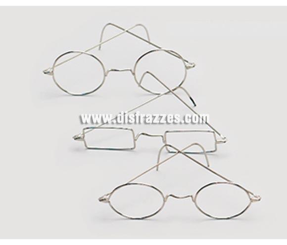 Gafas metálicas ovaladas. Ideales para el disfraz de Papa Noel y/o de Abuelo o Abuela.