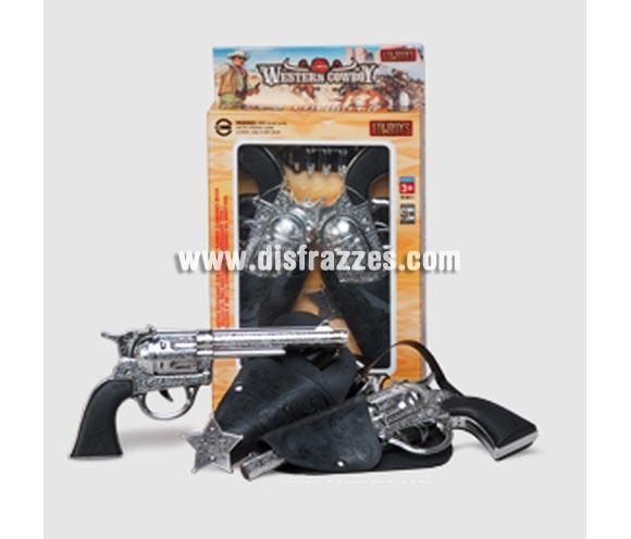 Set pistolas de Cowboy o pistolero 23 cm. Perfectas como Complemento de los disfraces de Vaquero o Pistolero.