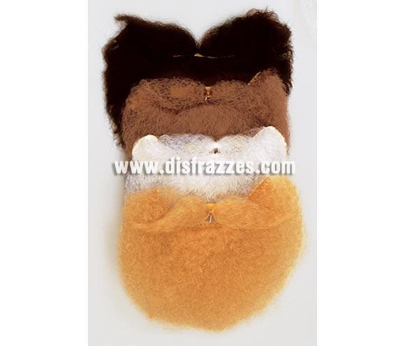 Barba y bigote adhesivos de color castaño pequeña. Ideal para vestir a niños de Rey Mago Gaspar.