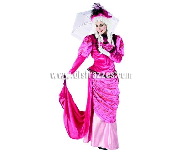 Disfraz de Dama Rosa para mujer. Talla standar, válida hasta la 44. Incluye disfraz y sombrero sin complementos. Disfraz de Dama del Siglo XVIII.