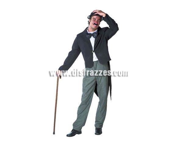 Disfraz de Charlot para hombre. Talla standar 52. Incluye disfraz sin complementos. Disfraz de Charlie Chaplin para caballero, con éste disfraz te quedarás mudo!!