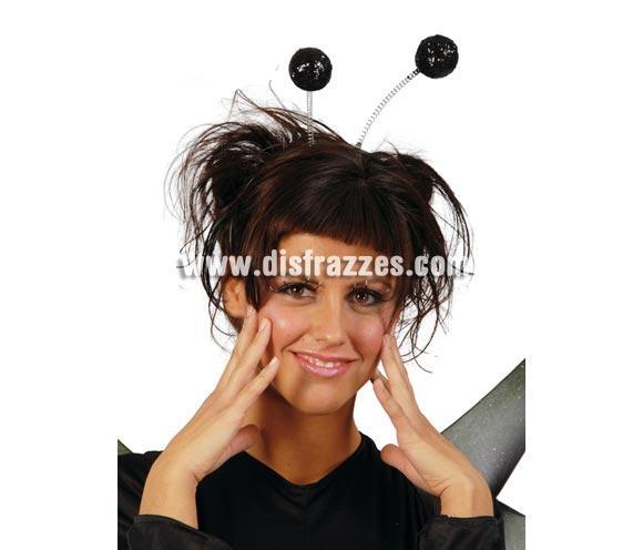 Diadema antenas bolas escarcha de color negro. Perfecto para los disfraces de Mariquita, también se usa mucho para Despedidas de Soltera.