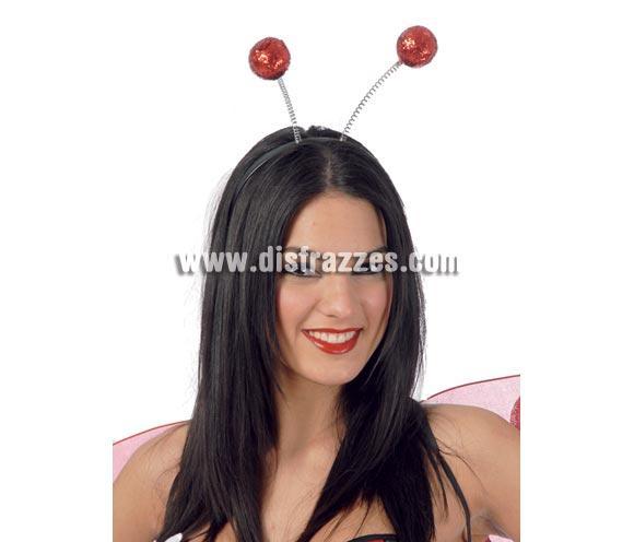 Diadema bolas escarcha de color rojo. Ideal como complemento para tu disfraz de Mariquita.