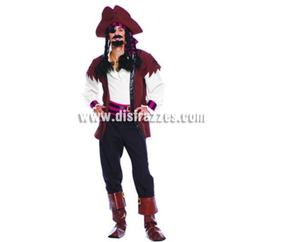 Disfraz de Pirata Guapo del Caribe para hombre. Talla standar 52/54. Incluye sombrero, cinta de la cabeza, camisa, chaleco, cinturón, pantalón y polainas.