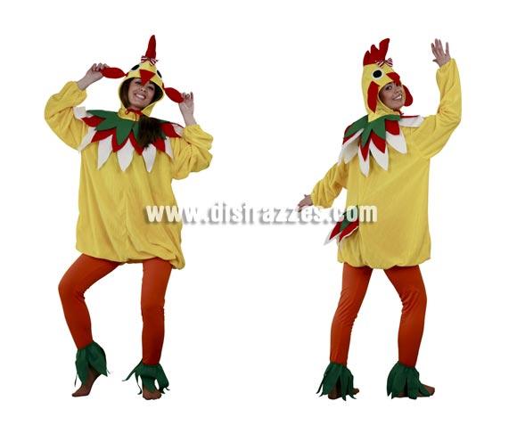Disfraz barato de Gallina para mujer. Talla standar M-L = 38/42. Incluye verdugo, cuello, vestido, mallas y cubrepies. Un disfraz muy calentito para Carnaval o para las Fiestas de tu pueblo.
