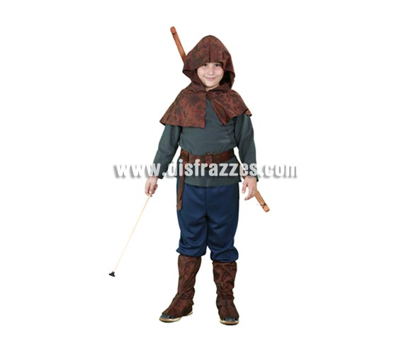 Disfraz de Robin Hood para niños de 10 a 12 años. Incluye camisa, capelina con capucha, pantalones y cubrebotas. Bonito disfraz del auténtico Héroe de los Bosques de Sherwood.  Arco y flecha NO incluidos.