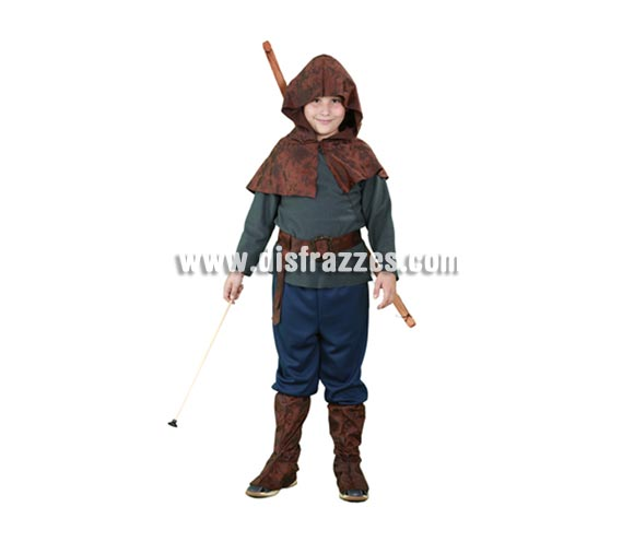 Disfraz de Robin Hood para niños de 7 a 9 años. Incluye camisa, capelina con capucha, pantalones y cubrebotas. Bonito disfraz del auténtico Héroe de los Bosques de Sherwood. Arco y flecha NO incluidos.