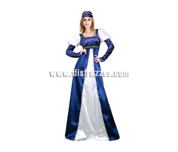 Disfraz de Princesa Medieval vestido Azul y Blanco para mujer. Talla Standar M-L 38/42. Incluye vestido y tocado. Perfecto para Ferias o Bodas Medievales, seguro que vas guapísima.