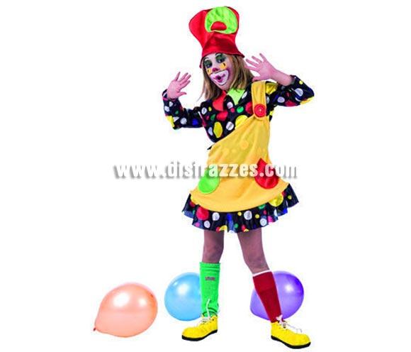 Disfraz de Payasa Lunares Deluxe para niñas. Alta calidad, hecho en España. Incluye camisa, vestido y gorro. Medias y zapatones no incluidos, podrás encontrar zapatones en nuestra sección de complementos.