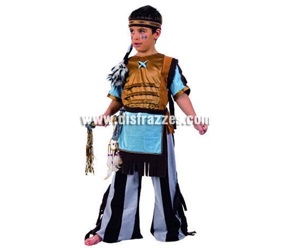 Disfraz de Indio Cherokee Deluxe para niños. Alta calidad, hecho en España. Disponible en varias tallas. Incluye camisa, pantalón, delantal y cinta del pelo. Hacha no incluida, podras encontrar hachas en la sección de complementos.