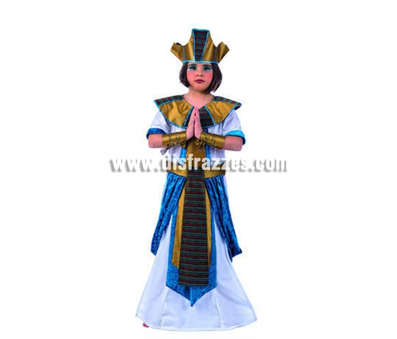 Disfraz de Faraona Egipcia Deluxe para niñas. Alta calidad, hecho en España. Diponible en varias tallas. Incluye túnica con cinturón, brazalete y gorro.