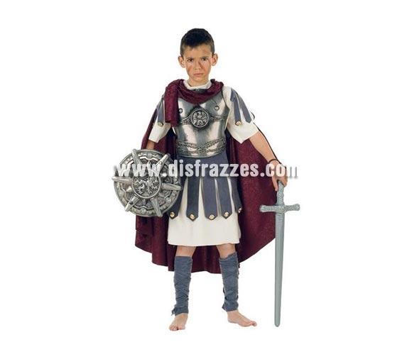Disfraz de Troyano Deluxe para niños. Alta calidad, hecho en España. Disponible en varias tallas. Incluye casaca con capa, cinturón, polainas y pechera. Escudo y espada no incluidas, podrás encontrar espadas y escudos en la sección de Accesorios.