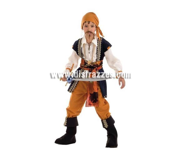 Disfraz de Pirata Malvado Deluxe para niños. Alta calidad, hecho en España. Disponible en varias tallas. Incluye camisa con chaleco y cinturón, pantalón, pañuelo y cubrebotas. Sable pirata no incluido, podrás encontrar sables piratas en la sección de complementos.