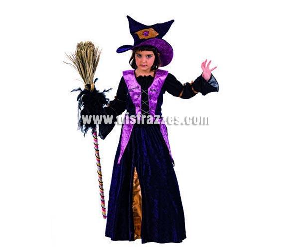 Disfraz de Bruja Chistera Deluxe para niñas. Alta calidad, hecho en España. Disponible en varias tallas. Incluye camisa, corpiño, falda y gorro. Escoba NO incluida, podrás ver escobas en la seccion de Complementos.