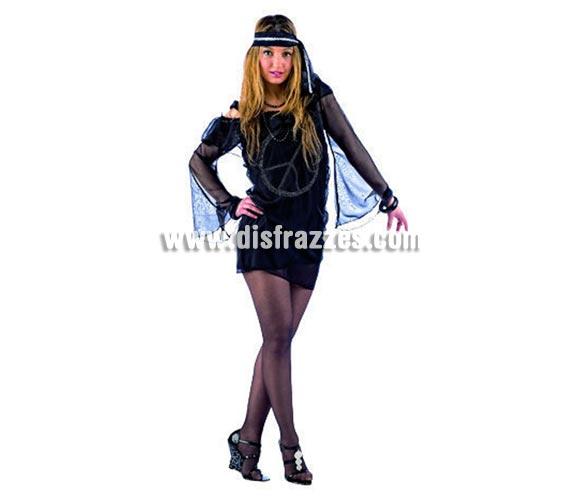 Disfraz de Hippie Sexy Deluxe adulta. Alta calidad, hecho en España. Varias tallas. Incluye vestido con strass y cinta en el pelo.