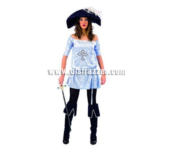 Disfraz de Mosquetera Strass Deluxe adulta. Alta calidad, hecho en España. Disponible en varias tallas. Incluye vestido con strass, gorro y cubrebotas.
