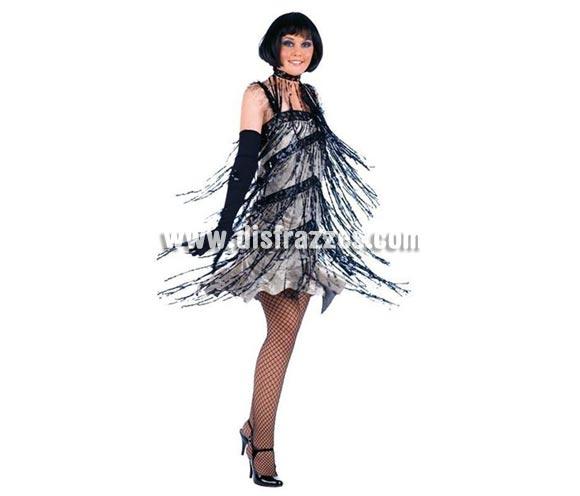 Disfraz de Charlestón Flecos Lentejuelas Deluxe para mujer. Alta calidad, hecho en España. Diponible en varias tallas. Incluye vestido. Guantes y Medias NO incluidos, podrás encontrar en la sección de Complementos.