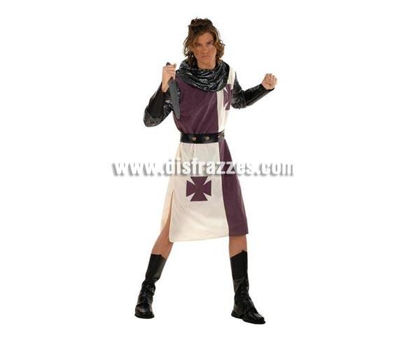Disfraz de Guerrero Cruzadas Medieval Deluxe para hombre. Alta calidad, hecho en España. Disponible en varias tallas. Incluye casaca con cinturón, cubrebotas y capucha. Espada no Incluida, podrás encontrar espadas en la sección de Complementos.