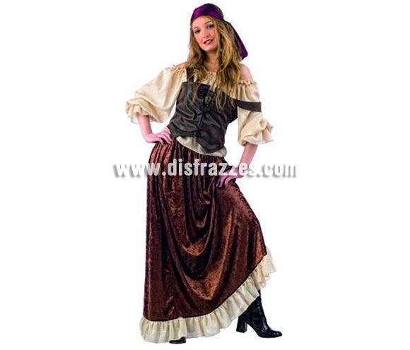 Disfraz de Pirata Medieval Deluxe para mujer. Alta calidad, hecho en España. Disponible en varias tallas. Incluye camisa, corpiño, falda y pañuelo.