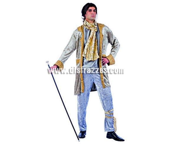 Disfraz de Caballero Época Deluxe para hombre. Alta calidad, hecho en España. Disponible en varias tallas. Incluye chaqueta con camisa, pantalón y pañuelo. Bastón No incluido, podrás encontrar bastones en la sección de Complementos.
