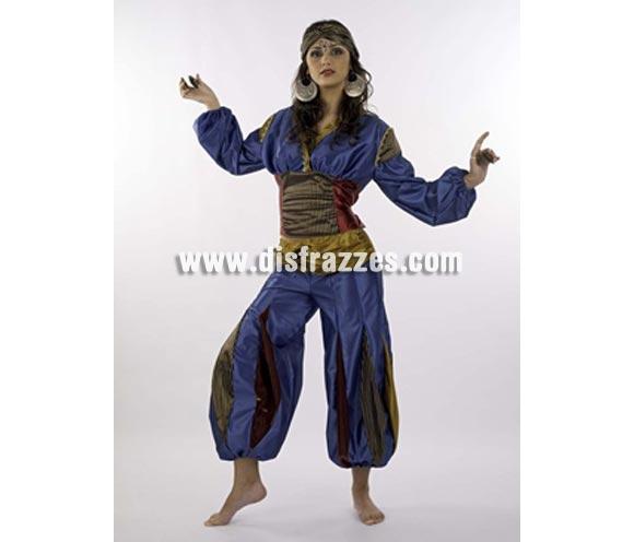 Disfraz de Jasmín Salena Deluxe para mujer. Alta calidad, hecho en España. Disponible en varias tallas. Incluye camisa, pantalón y turbante. Tela aterciopelada.