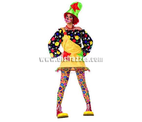 Disfraz de Payasa Lunares Deluxe para mujer. Alta calidad, hecho en España. Disponible en varias tallas. Incluye vestido, camisa y gorro. Peluca, zapatones, medias y collar NO incluidos, podrás encontrar pelucas, collares y zapatones en la sección de Complementos.