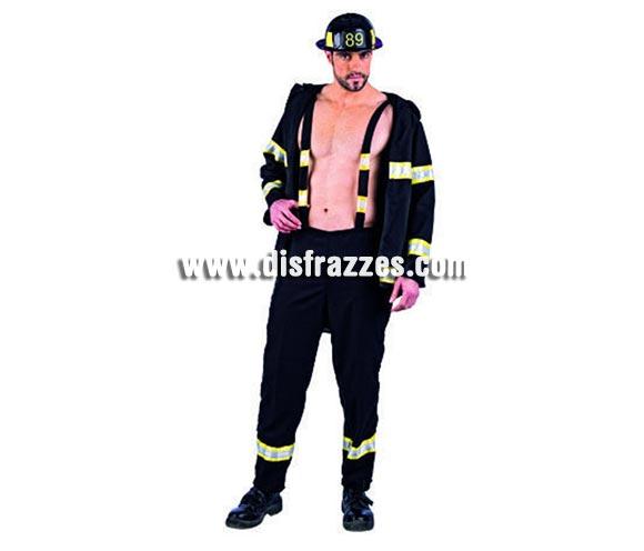 Disfraz de Bombero Sexy Transformable Deluxe para hombre. Alta calidad, hecho en España. Disponible en varias tallas. Incluye chaqueta, pantalón desmontable con tirantes y gorro.