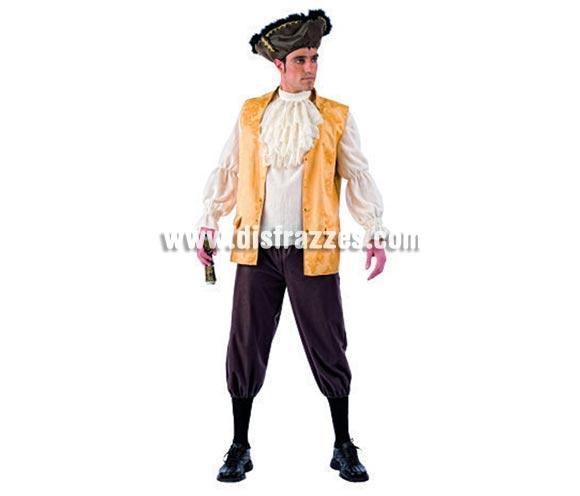 Disfraz de Pirata Corsario Deluxe para hombre. Alta calidad, hecho en España. Disponible en varias tallas. Incluye camisa,  chaleco, pantalón, chorrera y gorro.