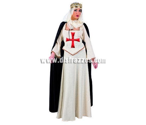 Disfraz de Señora del Temple Deluxe para mujer. Alta calidad, hecho en España. Disponible en varias tallas. Incluye camisa, capa, falda y velo de la cabeza. Corona NO incluida, podrás encontrar coronas en la sección de Complementos. Este bonito disfraz de Templaria es ideal para fiestas o ferias medievales.