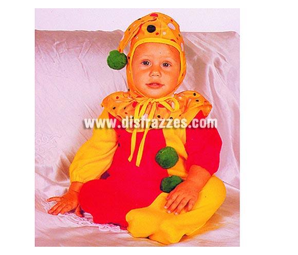 Disfraz de Payaso para bebés de 0-6 meses. Incluye saquito y gorro.