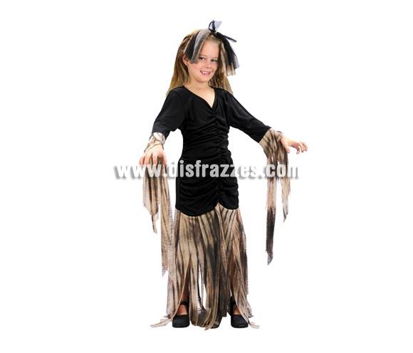 Disfraz de Zombie para niñas de 7-9 años. Incluye vestido y tocado.