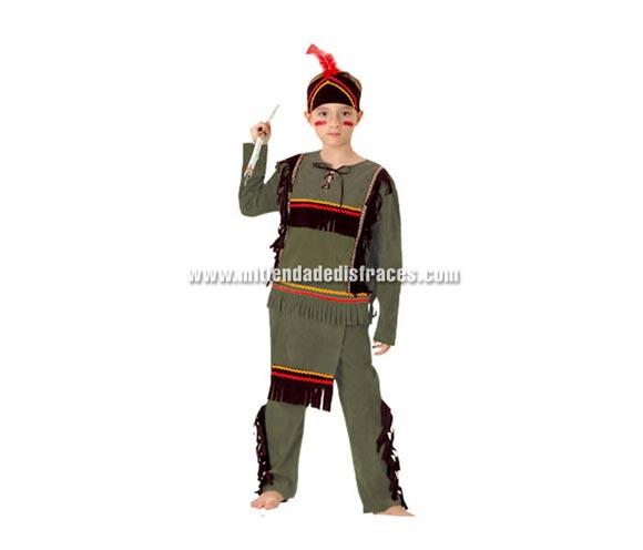 Disfraz de Indio Económico talla de 10 a 12 años. Incluye camisa, pantalón con mandil y tocado. Lanza NO incluida, podrás verla en la sección de Complementos.