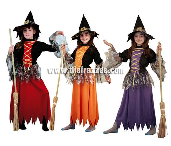 Disfraz de Bruja para niñas de 7-9 años. Incluye vestido y sombrero. Tres modelos diferentes, precio por unidad, se venden por separado.