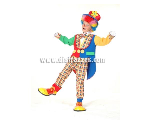 Disfraz de Payaso abrigo infantil barato para Carnaval. Talla de 7 a 9 años. Incluye sombrero, chaqueta, pechera con lazo y pantalón. Peluca, zapatones y guantes NO incluidos, podrás verlos en las secciones de Accesorios