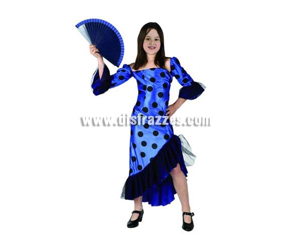 Disfraz de Flamenca Azul para niñas de 3-4 años. Incluye vestido. Abanico NO incluido, podrás encontrar en la sección de Complementos.