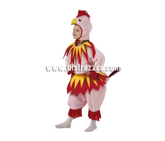 Disfraz de Gallina Rosa para niñas de 3 a 4 años. Incluye pantalón, camisa y gorro.