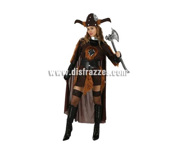 Disfraz de Vikinga para mujer. Talla XL = 44/48. Incluye vestido y gorro. Hacha NO incluida, podrás encontrar en la sección de Complementos.
