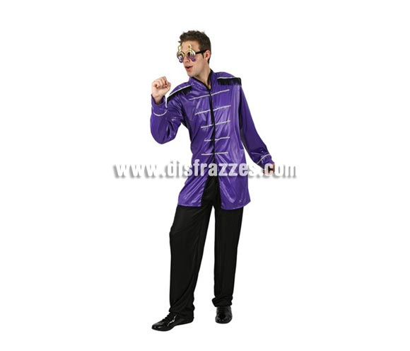 Disfraz de Músico John para hombre. Talla Standar M-L = 52/54. Incluye chaqueta y pantalón. Gafas NO incluidas. Disfraz de The Beatles.