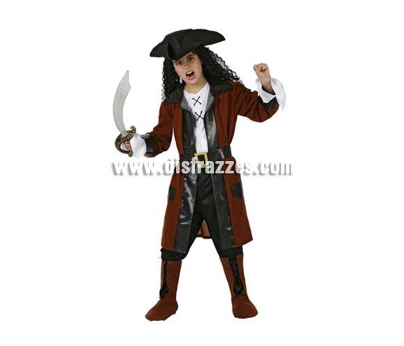 Disfraz de Corsario para niños de 3-4 años. Incluye camisa, pantalón, cinturón, chaqueta, cubrebotas y gorro.