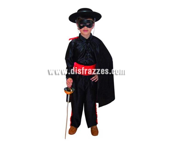 Disfraz de  Héroe Enmascarado para niños de 5-6 años. Incluye capa, pantalón, fajín, camisa y antifaz. Espada NO incluida, podrás verla en la sección Complementos.
