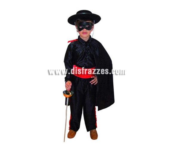 Disfraz de  Héroe Enmascarado para niños de 7-9 años. Incluye capa, pantalón, fajín, camisa y antifaz. Espada NO incluida, podrás verla en la sección Complementos.