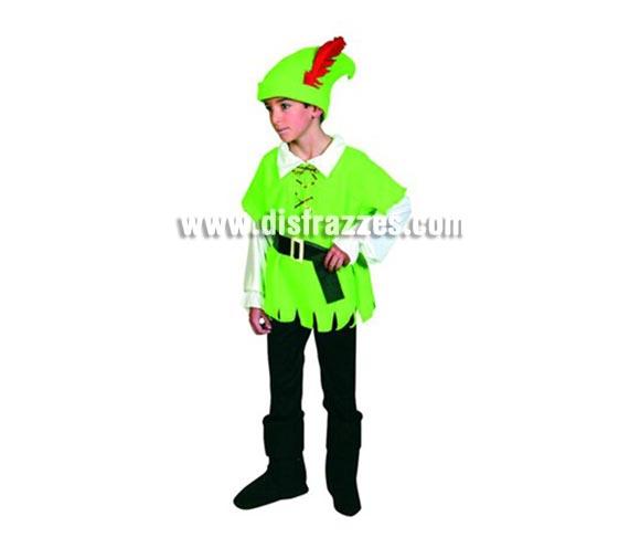 Disfraz de Robin Hood para niños de 3-4 años. Incluye camisa, pantalón, cinturón, cubrebotas y gorro.