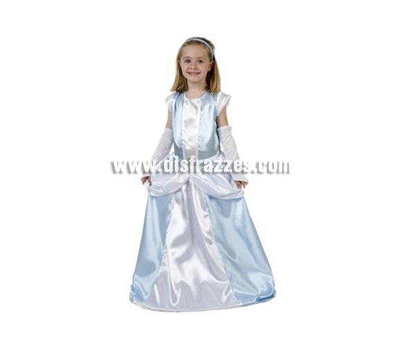 Disfraz de Dama Antigua Azul para niñas de 3-4 años. Incluye vestido, cubrebrazos y cinta. También podrá servir como disfraz de Princesa.