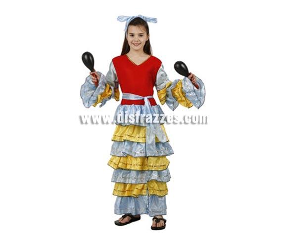 Disfraz de Brasileña, Carinbeña o Rumbera para niñas de 7-9 años. Incluye vestido, cinturón y cinta de la cabeza. Maracas NO incluidas, podrás encontrar maracas en la sección de Complementos.