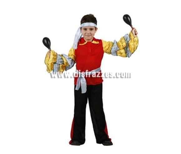 Disfraz de Brasileño, Caribeño o Rumbero para niños de 5-6 años. Incluye camisa, pantalón, cinturón y cinta de la cabeza. Maracas NO incluidas, podrás encontrar maracas en la sección de Complementos.