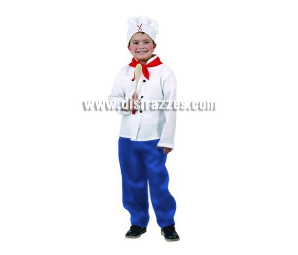 Disfraz de Cocinero para niños de 10-12 años. Incluye camisa, pañuelo, pantalón y gorro. Cuchara NO incluida.